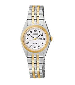 Seiko® Women's Two-Tone White Dial Dress Calendar Watch *