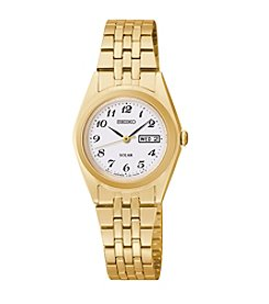 Seiko® Women's Goldtone White Dial Dress Calendar Watch