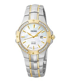 Seiko® Women's Coutura Two-Tone Diamond Bezel Solar Watch