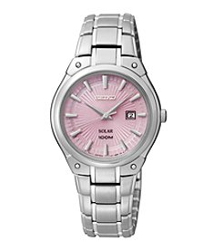 Seiko® Women's Pink Dial Solar Dress Watch