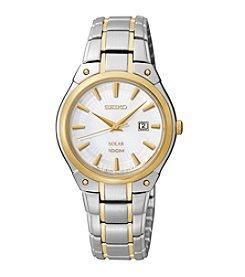 Seiko® Women's Two-Tone White Dial Dress Calendar Watch