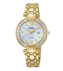 Seiko® Women's Goldtone Diamond Bezel Solar Watch
