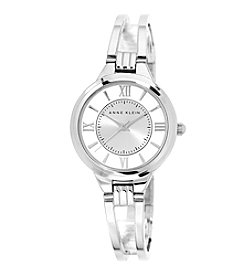 Anne Klein® Silvertone Open Bangle Watch