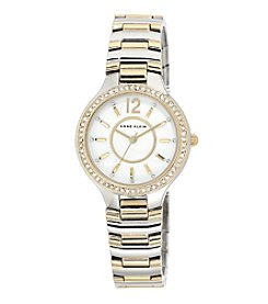 Anne Klein® Two-Tone Crystal Bezel Bracelet Watch