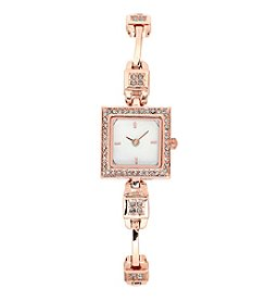 Anne Klein® Rose Goldtone Petite Crystal Bangle Watch