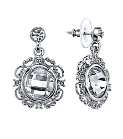 1928® Jewelry Silver Glace Silvertone Crystal Round Drop Earrings