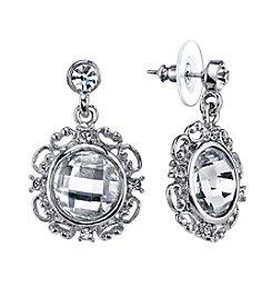 1928® Jewelry Silver Glace Silvertone Crystal Round Drop Earrings
