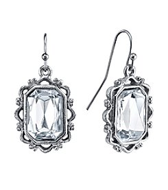 1928® Jewelry  Silver Glace Silvertone Crystal Rectangle Faceted Drop Earrings