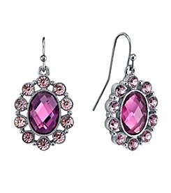 1928® Jewelry Radiant Orchid Silvertone Amethyst Purple Oval Drop Earrings