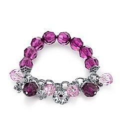 1928® Radiant Orchid Silvertone Amethyst Purple Beaded Charm Stretch Bracelet