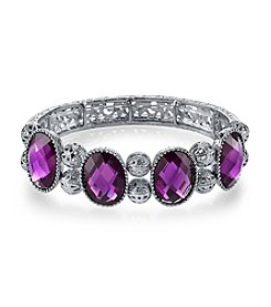 1928® Radiant Orchid Silvertone Amethyst Purple Stretch Bracelet
