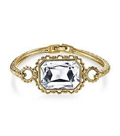 1928® Gold Glace Goldtone Crystal Faceted Rectangle Clasp Bracelet