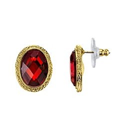 1928® Jewelry Red Bouquet Goldtone Siam Red Faceted Oval Button Earrings
