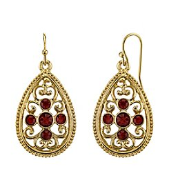1928® Jewelry Red Bouquet Goldtone Siam Red Crystal Filigree Pear shape Drop Earrings