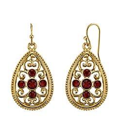 1928® Jewelry Red Bouquet Goldtone Siam Red Crystal Filigree Pear shape Drop Earrings