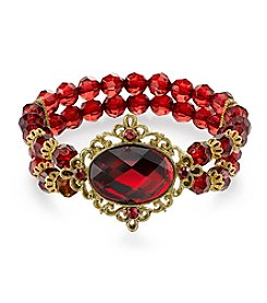 1928® Red Bouquet Goldtone Siam Red Oval Faceted with Red Beaded Stretch Bracelet