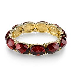 1928® Red Bouquet Goldtone Siam Red Faceted Stretch Bracelet