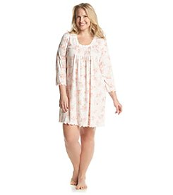 Miss Elaine® Plus Size Peach Floral Sleep Gown