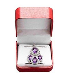 Amethyst Earrings, Pendant & Ring Set in Sterling Silver