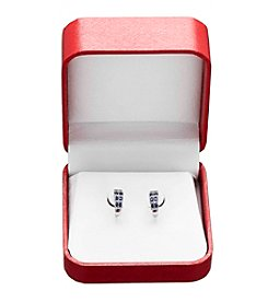 Sapphire & .04 ct. t.w. Diamond Earrings in 10K White Gold