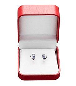Sapphire & .04 ct. t.w. Diamond Earrings in 10K White Gold