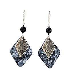 Silver Forest® Duo Diamonds in Greys Silvertone Earrings