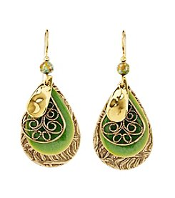Silver Forest® Four Layers of Green & Goldtone Earrrings