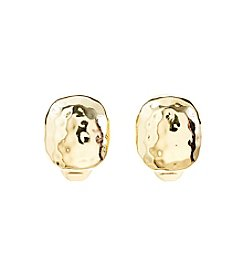 Napier® Clip Hammered Button Goldtone Earrings
