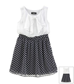 Amy Byer Girls' 7-16 Ruffle Bodice With Dot Skirt