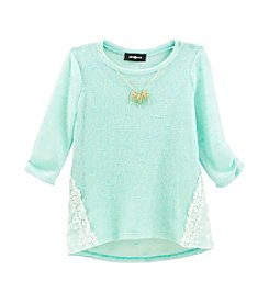 Amy Byer Girls' 7-16 Lace Trim Sweater Top