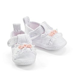 Cuddle Bear® Baby Girls' White T-Strap Sneaker With Lace Rosette