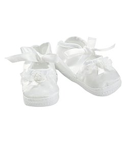 Cuddle Bear® Baby Girls' White Satin Shoe with Lace Ornament