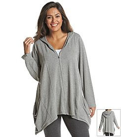 Cable & Gauge® Plus Size Long Sleeve Shark Zip Front Hoodie