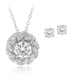 Designs by FMC Boxed Sterling Silver Plate Pave Frame Cubic Zirconia Necklace and Earrings Set