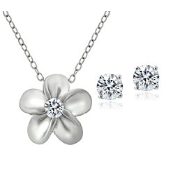 Designs by FMC Boxed Sterling Silver Plated Cubic Zirconia Metal Flower Necklace and Earrings Set