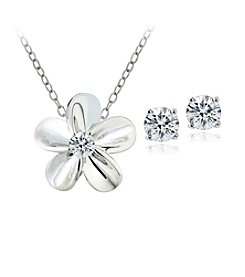 Designs by FMC Boxed Sterling Silver Plate Cubic Zirconia Flower Necklace and Earrings Set