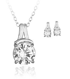 Designs by FMC Boxed Sterling Silver Plate Cubic Zirconia Necklace and Matching Stud Earrings Set