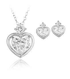 Designs by FMC Boxed Sterling Silver Plate Cubic Zirconia Heart Necklace with Matching Earrings Set