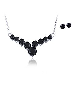 Designs by FMC Boxed Sterling Silver Plate Black Cubic Zirconia Necklace with Stud Earrings Set