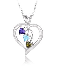 Designs by FMC Boxed Sterling Silver Plate Open Heart Multi Cubic Zirconia Heart Necklace