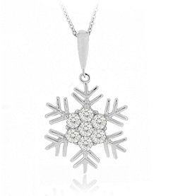 Designs by FMC Boxed Sterling Silver Plate Cubic Zirconia Snowflake Necklace