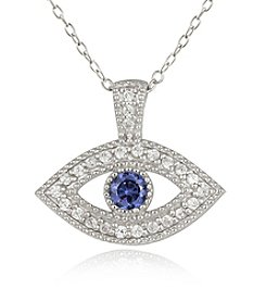 Designs by FMC Boxed Sterling Silver Plate Evil Eye Pave Cubic Zirconia Necklace
