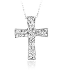 Designs by FMC Boxed Sterling Silver Plate Cubic Zirconia Cross Pave Necklace