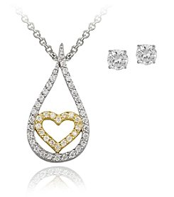 Designs by FMC Boxed Two Tone Sterling Silver Plate Teardrop Heart Cubic Zirconia Jewelry Set