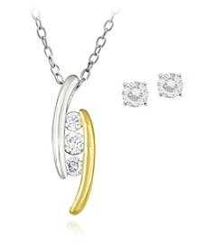 Designs by FMC Boxed Sterling Silver Two Tone Plated Cubic Zirconia Necklace with Stud Earrings Set