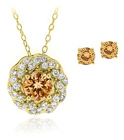 Designs by FMC Boxed 18K Gold Plated Over Brass Champagne Cubic Zirconia Necklace with Studs Set
