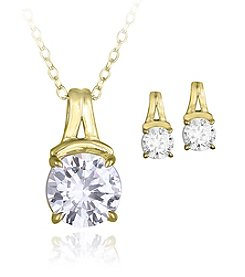 Designs by FMC Boxed 18K Gold Plated Over Brass Cubic Zirconia Necklace with Stud Earrings Set