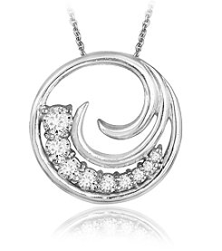 Designs by FMC Boxed Sterling Silver Plate Circle Cubic Zirconia Swirl Necklace