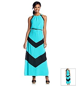 Sequin Hearts® Colorblock Halter Maxi Dress
