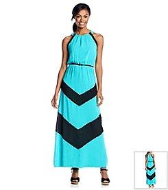 Sequin Hearts® Colorblock Halter Maxi Dress